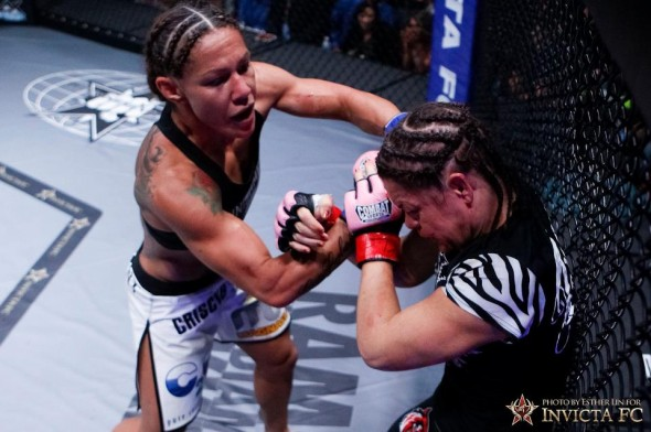 Cristiane Justino delievers strikes to Fiona Muxlow Esther Lin-Invicta FC