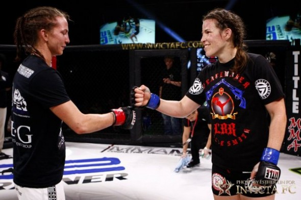 Kaitlin Young and Leslie Smith congratulate each other after their fight at Invicta FC 1. Credit: Esther Lin - Invicta FC