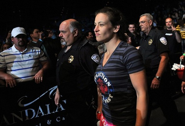 April 13, 2013; Las Vegas, NV, USA; Cat Zingano enters the octagon during the TUF 17 Finale at the Mandalay Bay Events Center. Mandatory Credit: Gary A. Vasquez-USA TODAY Sports
