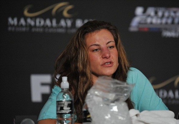 April 13, 2013; Las Vegas, NV, USA; Miesha Tate speaks to media following her loss at the TUF 17 Finale at the Mandalay Bay Events Center. Mandatory Credit: Gary A. Vasquez-USA TODAY Sports