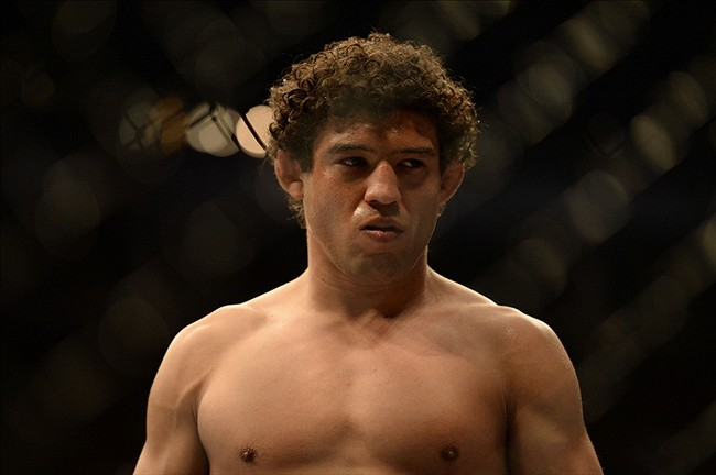 Apr 20, 2013; San Jose, CA, USA; Gilbert Melendez prepares to fight against Benson Henderson (not pictured) during the lightweight championship bout of the UFC on Fuel TV at HP Pavilion. Mandatory Credit: Kyle Terada-USA TODAY Sports