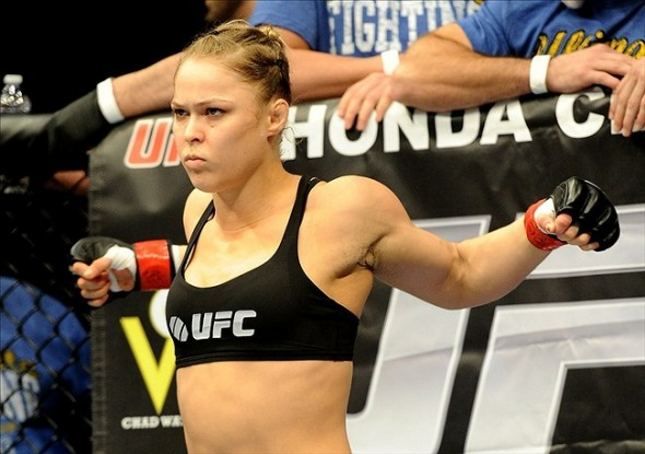 Feb 23, 2013; Anaheim, CA, USA; Ronda Rousey gets ready for her UFC women
