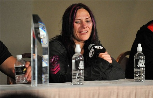 April 13, 2013; Las Vegas, NV, USA; Cat Zingano speaks to media following her victory at the TUF 17 Finale at the Mandalay Bay Events Center. Mandatory Credit: Gary A. Vasquez-USA TODAY Sports