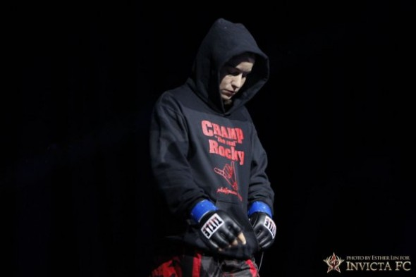 Raquel Pennington walks to the cage before her match with Cat Zingano. Photo Credit: Esther Lin-Invicta FC