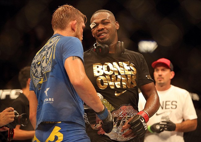 Sep 21, 2013; Toronto, Ontario, CAN; Jon Jones congratulates Alexander Gustafsson (left) after Jones