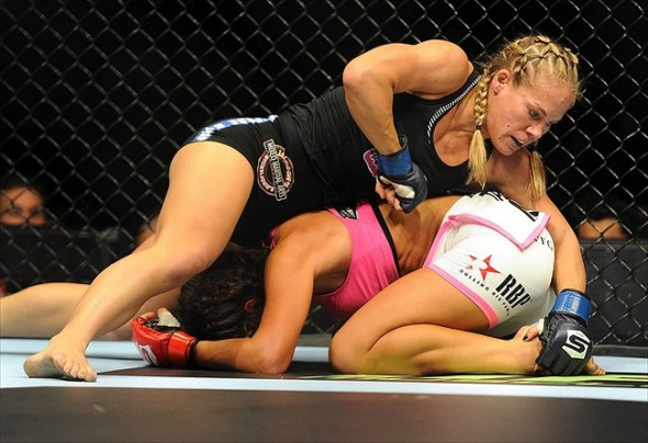 August 18, 2012; San Diego, CA, USA; Miesha Tate (white shorts) fights Julie Kedzie (black shorts) in their Strikeforce MMA Women