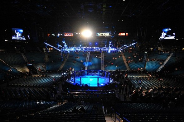 Dec 29, 2012; Las Vegas, NV, USA; General view of the octagon before the fight between Junior Dos Santos and Cain Velasquez at UFC 155 at the MGM Grand Garden Arena. Mandatory Credit: Gary A. Vasquez-USA TODAY Sports