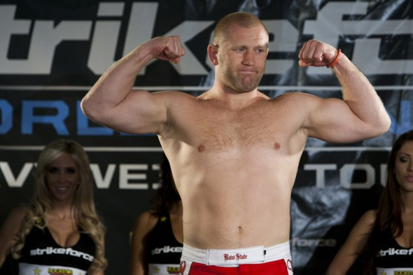 Sergei Kharitonov poses at the weigh-ins at a Strikeforce event. Photo Credit: Strikeforce