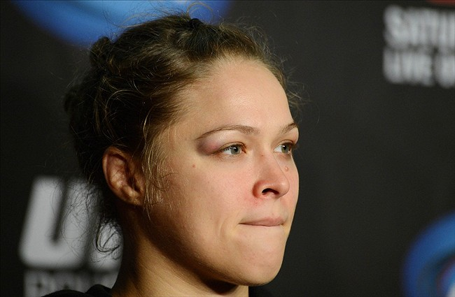 Feb 23, 2013; Anaheim, CA, USA; Ronda Rousey attends the post fight press conference at the Honda Center. Rousey defeated Liz Carmouche in their bantamweight title bout. Mandatory Credit: Jayne Kamin-Oncea-USA TODAY Sports