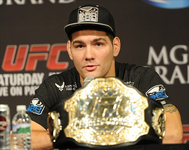 Jul 6, 2013; Las Vegas, NV, USA; Chris Weidman during the post fight press conference at the MGM Grand Garden Arena. Weidman defeated Anderson Silva for the Middleweight Chamionship in a TKO in the second round. Mandatory Credit: Jayne Kamin-Oncea-USA TODAY Sports