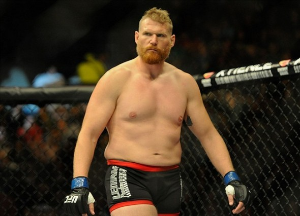 Aug 31, 2013; Milwaukee, WI, USA; Josh Barnett gets ready to fight during the UFC-164 bout at BMO Harris Bradley Center. Mandatory Credit: Benny Sieu-USA TODAY Sports