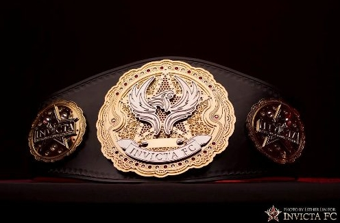 A picture of the Invicta FC Championship belt. Photo Credit: Esther Lin-Invicta FC