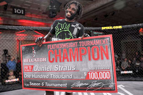 Daniel Straus celebrates winning the Bellator Season Six Featherweight tournament. Photo Credit: Bellator MMA