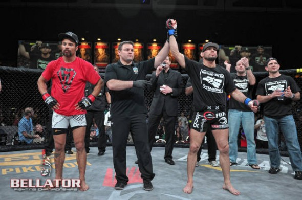 Hawn (right) after defeating Lloyd Woodard. Credit: Bellator MMA