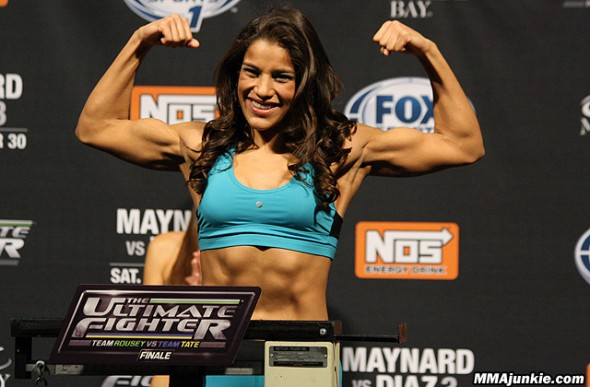 Julianna Pena at the TUF 18 Finale Weigh-Ins. Credit: MMAWeekly.com