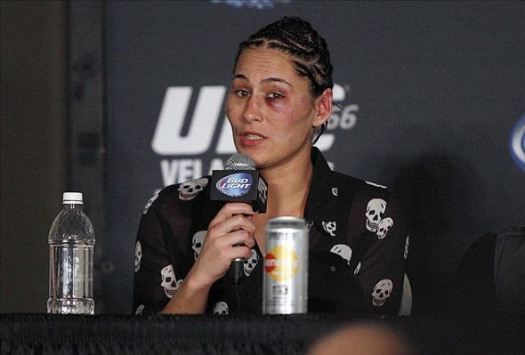 Jessica Eye after her UFC debut against Sarah Kaufman. Credit: Andrew Richardson-USA TODAY Sports