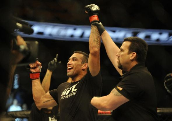 Apr 19, 2014; Orlando, FL, USA; Fabricio Werdum celebrates a victory in his heavyweight fight during UFC on FOX 11 at Amway Center. Mandatory Credit: David Manning-USA TODAY Sports