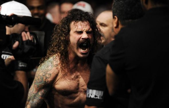 Jan 26, 2013; Chicago, IL, USA; Clay Guida yells out before his fight against Hatsu Hioki (not pictured) during UFC on FOX 6 at the United Center. Mandatory Credit: David Banks-USA TODAY Sports
