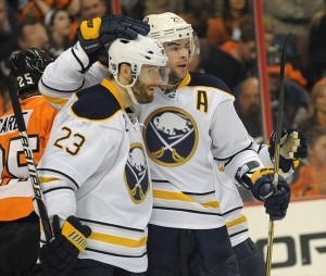 April 5, 2012; Philadelphia, PA USA; Buffalo Sabres center Ville Leino (23) celebrates his goal with teammate right wing Drew Stafford (21) during the second period against the Philadelphia Flyers at the Wells Fargo Center in Philadelphia. Mandatory Credit: Eric Hartline-USA TODAY Sports