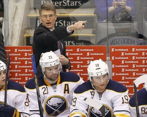 Feb 21, 2013; Toronto, Ontario, CAN; Buffalo Sabres interim head coach Ron Rolston on the bench during a game against the Toronto Maple Leafs at the Air Canada Centre. Toronto defeated Buffalo 3-1. Mandatory Credit: John E. Sokolowski-USA TODAY Sports