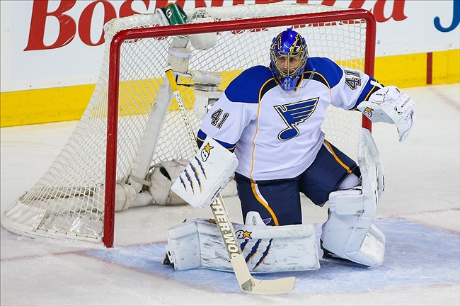 Mar 24, 2013; Calgary, Alberta, CAN; St. Louis Blues goalie Jaroslav Halak (41) guards his net against Calgary Flames during the third period at the Scotiabank Saddledome. Calgary Flames won 3-2. Mandatory Credit: Sergei Belski-USA TODAY Sports
