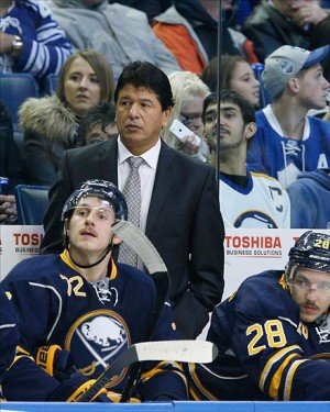 Nov 29, 2013; Buffalo, NY, USA; Buffalo Sabres head coach Ted Nolan during the game against the Toronto Maple Leafs at First Niagara Center. Mandatory Credit: Kevin Hoffman-USA TODAY Sports