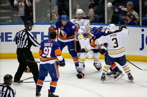 Buffalo Sabres and New York Islanders In a scrum.
