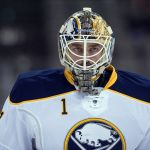 Mar 3, 2014; Dallas, TX, USA; Buffalo Sabres goalie Jhonas Enroth (1) skates in warm-ups prior to the game against the Dallas Stars at the American Airlines Center. Mandatory Credit: Jerome Miron-USA TODAY Sports