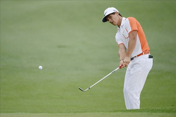 Apr 12, 2013; Augusta, GA, USA; Thorbjorn Olesen chips onto the 2nd green during the second round of the 2013 The Masters golf tournament at Augusta National Golf Club. Mandatory Credit: Jack Gruber-USA TODAY Sports
