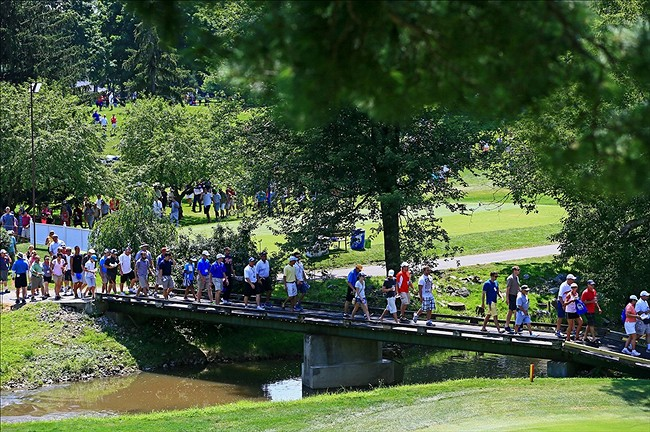 Jul 21, 2013; Toledo, OH, USA; LPGA spectators during the final round of the Marathon Classic at Highland Meadows Golf Club. Mandatory Credit: Andrew Weber-USA TODAY Sports