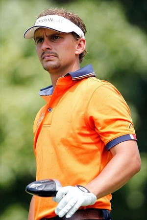 Aug. 4, 2012; Akron, OH, USA; Joost Luiten watches his drive from the 14th tee during the third round of the WGC-Bridgestone Invitational at Firestone Country Club. Mandatory Credit: Debby Wong-USA TODAY Sports