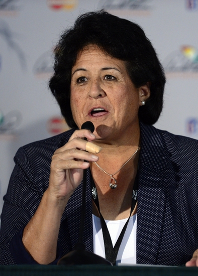 Mar 23, 2014; Orlando, FL, USA; Nancy Lopez addresses the media about the changes to the World Golf Hall of Fame and its announced changes to its selection ... - gary-player-arnold-palmer-nancy-lopez-st.-augustine-pga-arnold-palmer-invitational-final-round