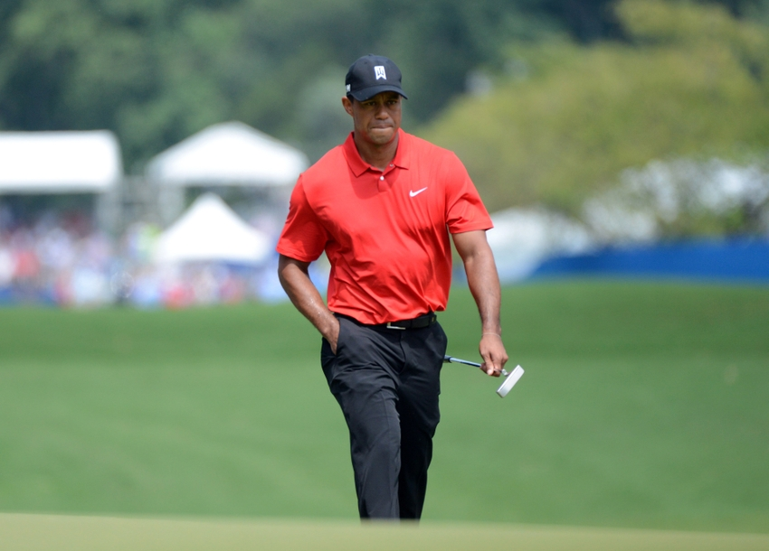 Aug 23, 2015; Greensboro, NC, USA; Tiger Woods approaches the first green during the final round of the Wyndham Championship golf tournament at Sedgefield Country Club. Mandatory Credit: Rob Kinnan-USA TODAY Sports