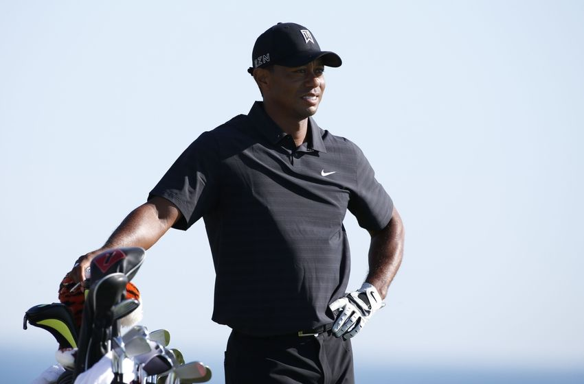 Aug 12, 2015; Sheboygan, WI, USA; Tiger Woods on the 17th tee during a practice round for the 2015 PGA Championship golf tournament at Whistling Straits -The Straits Course. Mandatory Credit: Brian Spurlock-USA TODAY Sports