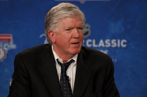 Feb. 9, 2012; Ann Arbor, MI, USA; Toronto Maple Leafs general manager Brian Burke during an NHL press conference for the 2013 Winter Classic between Detroit Red Wings and Toronto Maple Leafs at Michigan Stadium. Mandatory Credit: Rick Osentoski-USA TODAY Sports