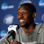Mar 20, 2013; Salt Lake City, UT, USA; Belmont Bruins guard Ian Clark (21) smiles as he answers a question during the press conference the day before the second round of the 2013 NCAA tournament at EnergySolutions Arena. Mandatory Credit: Steve Dykes-USA TODAY Sports