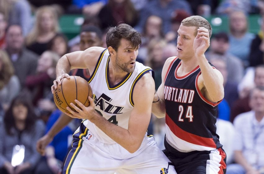 Dec 31, 2015; Salt Lake City, UT, USA; Utah Jazz center Jeff Withey (24) defended by Portland Trail Blazers center Mason Plumlee (24) in the second half at Vivint Smart Home Arena. Mandatory Credit: Rob Gray-USA TODAY Sports