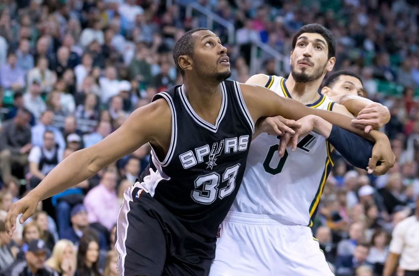 Dec 9, 2014; Salt Lake City, UT, USA; San Antonio Spurs forward Boris Diaw (33) boxes out Utah Jazz center Enes Kanter (0) during the second half at EnergySolutions Arena. The Jazz won 100-96. Mandatory Credit: Russ Isabella-USA TODAY Sports