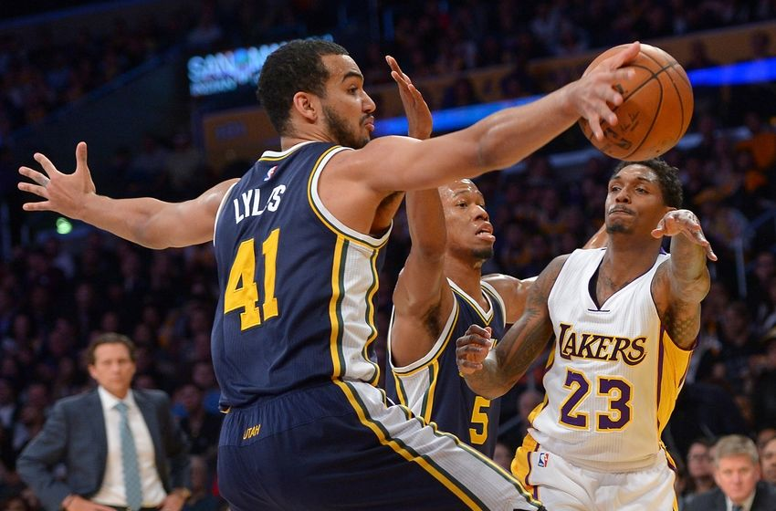 Jan 10, 2016; Los Angeles, CA, USA; Utah Jazz guard Rodney Hood (5) defends as Utah Jazz forward Trey Lyles (41) blocks a pass under the basket by Los Angeles Lakers guard Louis Williams (23) in the first quarter of the game at Staples Center. Mandatory Credit: Jayne Kamin-Oncea-USA TODAY Sports