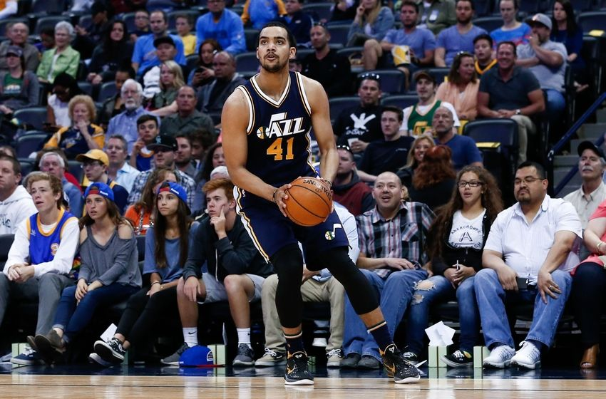 Apr 10, 2016; Denver, CO, USA; Utah Jazz forward Trey Lyles (41) controls the ball in the second quarter against the Denver Nuggets at the Pepsi Center. Mandatory Credit: Isaiah J. Downing-USA TODAY Sports