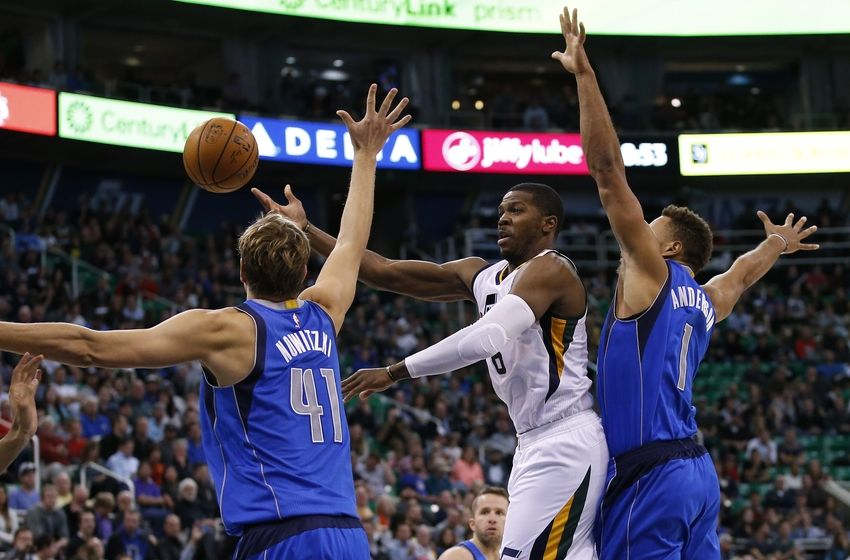 Nov 2, 2016; Salt Lake City, UT, USA; Utah Jazz forward Joe Johnson (6) passes the ball against Dallas Mavericks forward Dirk Nowitzki (41) and guard Justin Anderson (1) in the fourth quarter at Vivint Smart Home Arena. The Utah Jazz defeated the Dallas Mavericks 97-81. Mandatory Credit: Jeff Swinger-USA TODAY Sports