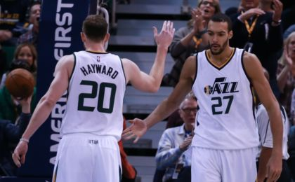 Nov 29, 2016; Salt Lake City, UT, USA; Utah Jazz center Rudy Gobert (27) and Utah Jazz forward Gordon Hayward (20) celebrate after Gobert blocks Houston Rockets shot during the fourth quarter at Vivint Smart Home Arena. Utah Jazz win 120-101. Mandatory Credit: Chris Nicoll-USA TODAY Sports