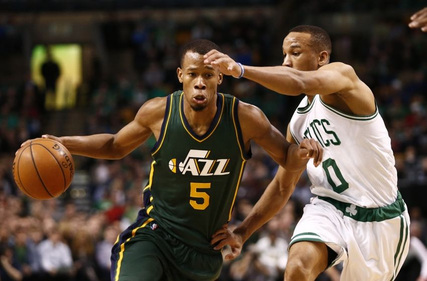 Feb 29, 2016; Boston, MA, USA; Utah Jazz guard Rodney Hood (5) drives to the basket against Boston Celtics guard Avery Bradley (0) during the second half at TD Garden. Mandatory Credit: Mark L. Baer-USA TODAY Sports