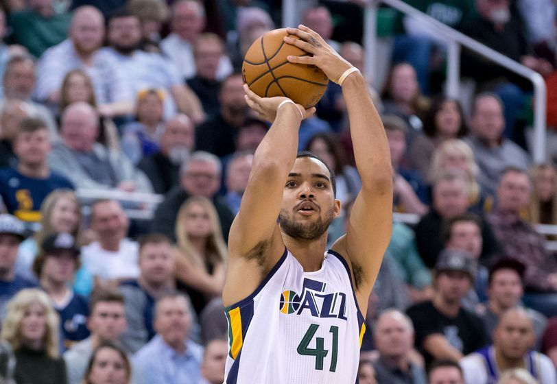 Jan 10, 2017; Salt Lake City, UT, USA; Utah Jazz forward Trey Lyles (41) shoots the ball during the second half against the Cleveland Cavaliers at Vivint Smart Home Arena. The Jazz won 100-92. Mandatory Credit: Russ Isabella-USA TODAY Sports