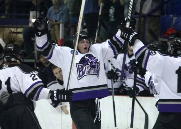 David Dudich - The NAHL Lone Star Brahmas celebrate Liam Stirtzinger's second period goal.
