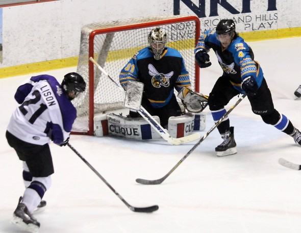 Photo Courtesy of David Dudich: Matt Lison and the Lone Star Brahmas had opportunities but were only able to put one puck past Olli Kalkaja in a 2 - 1 overtime loss.
