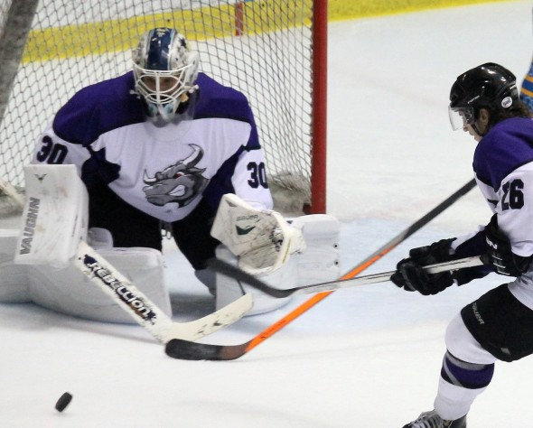 Photo Courtesy of David Dudich - Brahmas goaltender Mattias Soderqvist made 34 saves to give Lone Star a chance in a loss to Topeka.