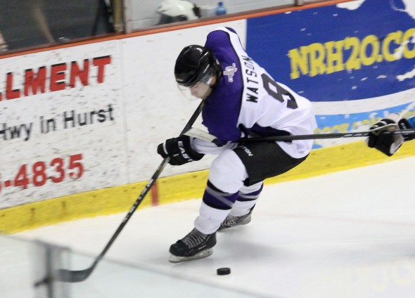 Photo Courtesy of David Dudich: The Brahmas Ryan Watson scored a Natural Hat Trick against Topeka to lead Lone Star to a 5 - 3 win and a series split.