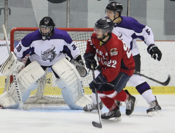 Photo ourtesy of David Dudich: Mike Davis and the NAHL leading Amarillo Bulls were too much for the Brahmas. Shane Joyce made his first appearance in net for Lone Star.