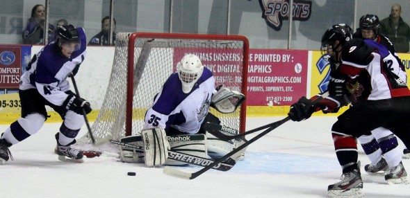 Photo Courtesy of David Dudich: Brahmas' netminder Jacob Nehama made 36 saves to claim number one star while Donovan Gardiner had a goal and an assist to be named second star in the Brahmas 2 - 1 victory over Wichita Falls.